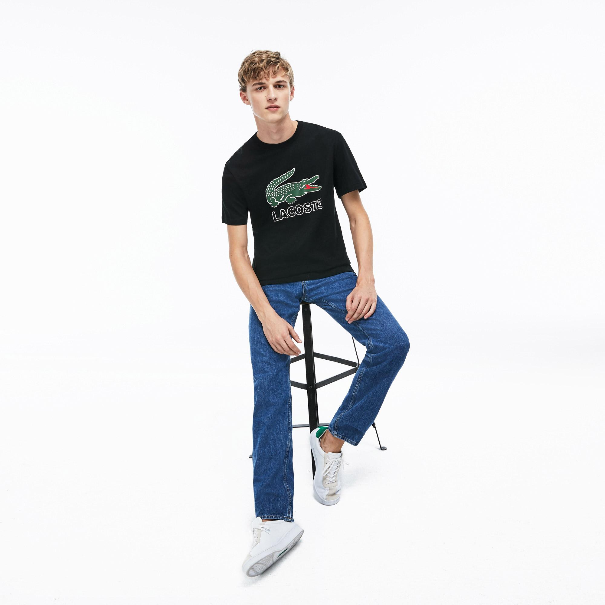 Lacoste Erkek Timsah Baskılı Siyah T-Shirt