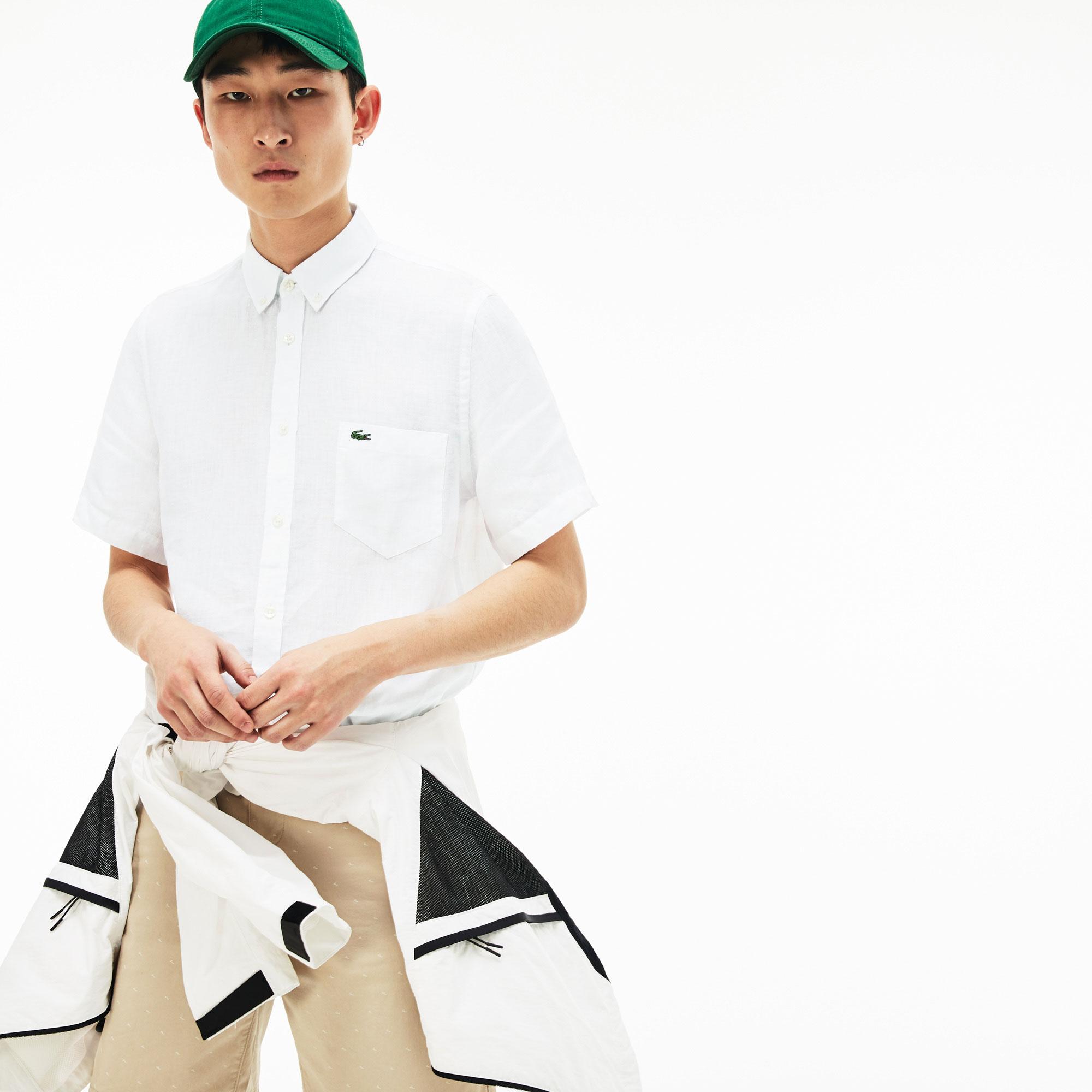 Lacoste Erkek Regular Fit Beyaz Kısa Kollu Gömlek