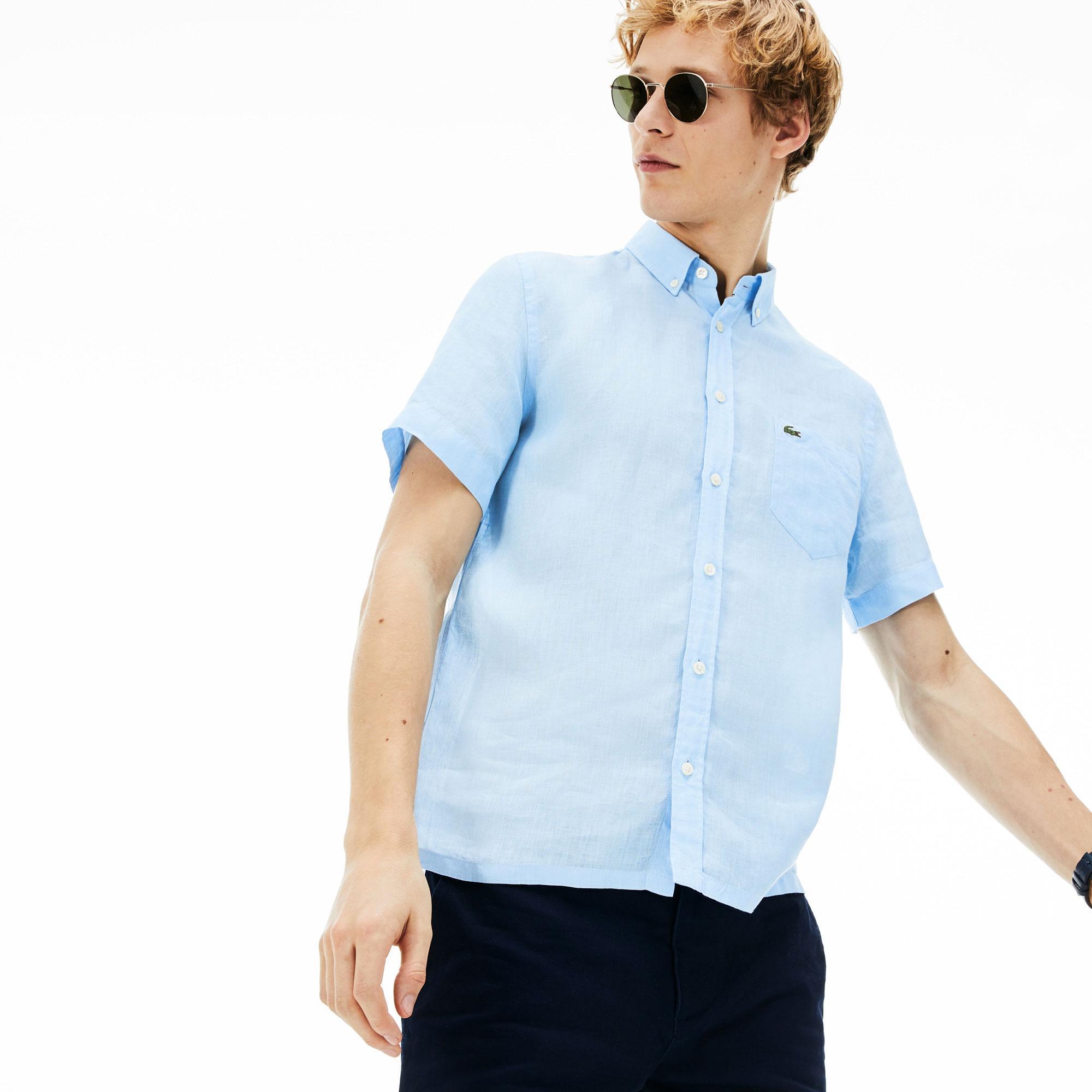 Lacoste Erkek Regular Fit Keten Mavi Kısa Kollu Gömlek
