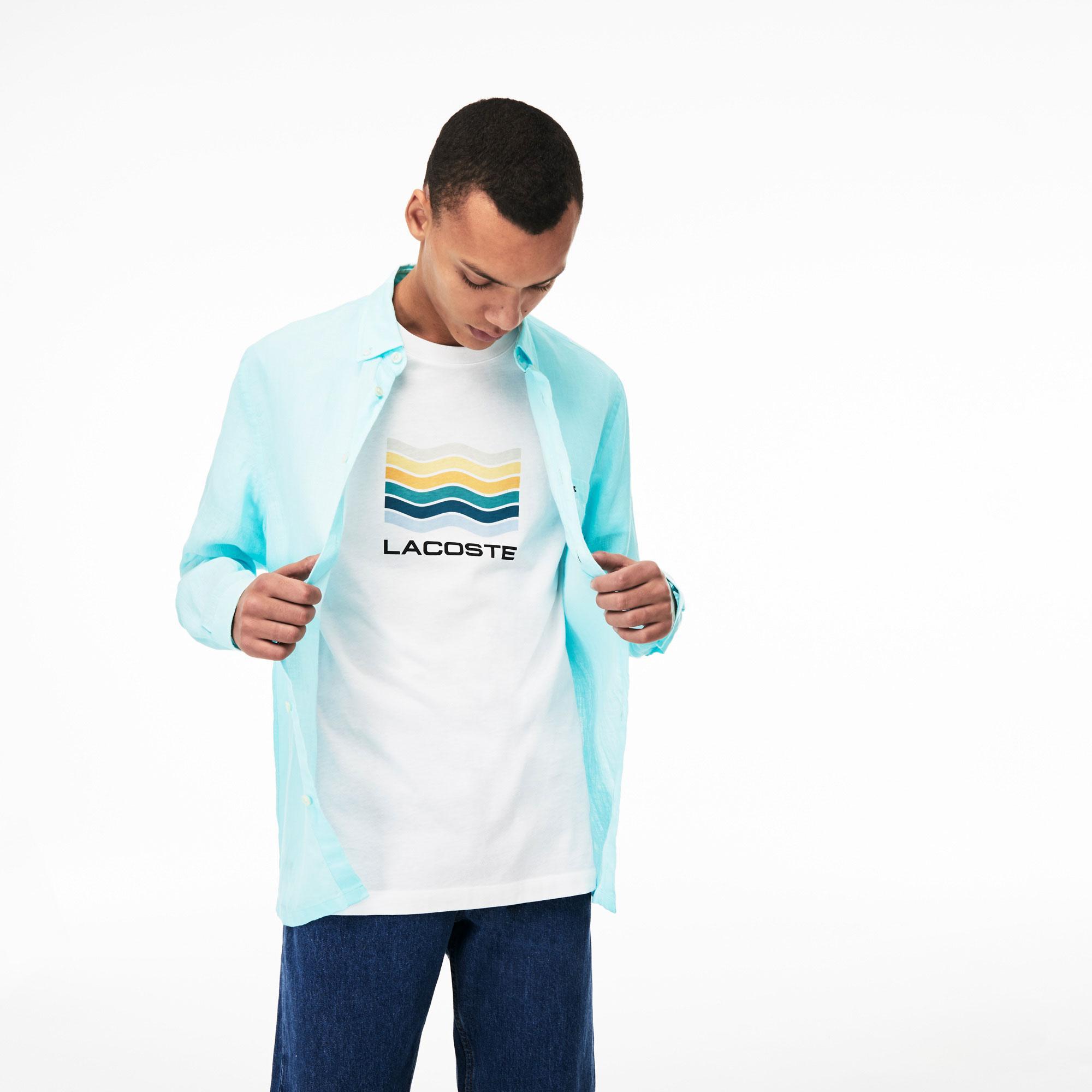 Lacoste Erkek Regular Fit Keten Açık Mavi Gömlek