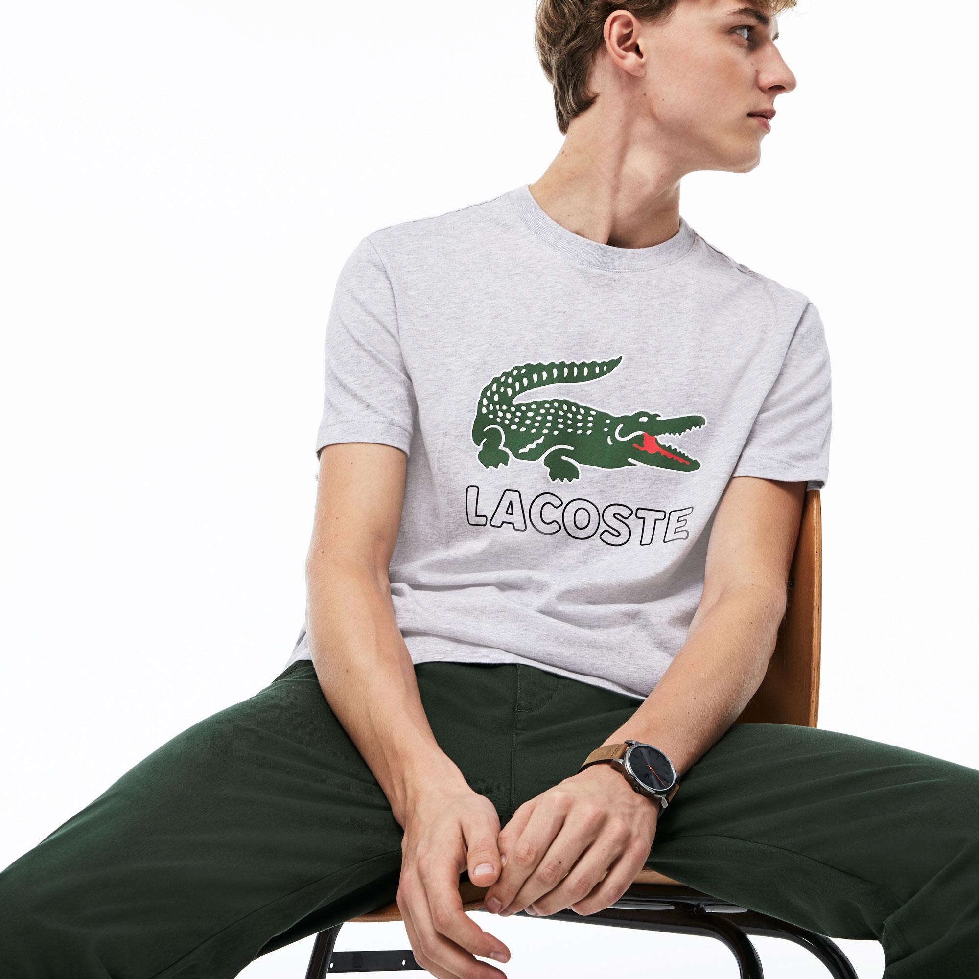 Lacoste Erkek Timsah Baskılı Gri T-Shirt