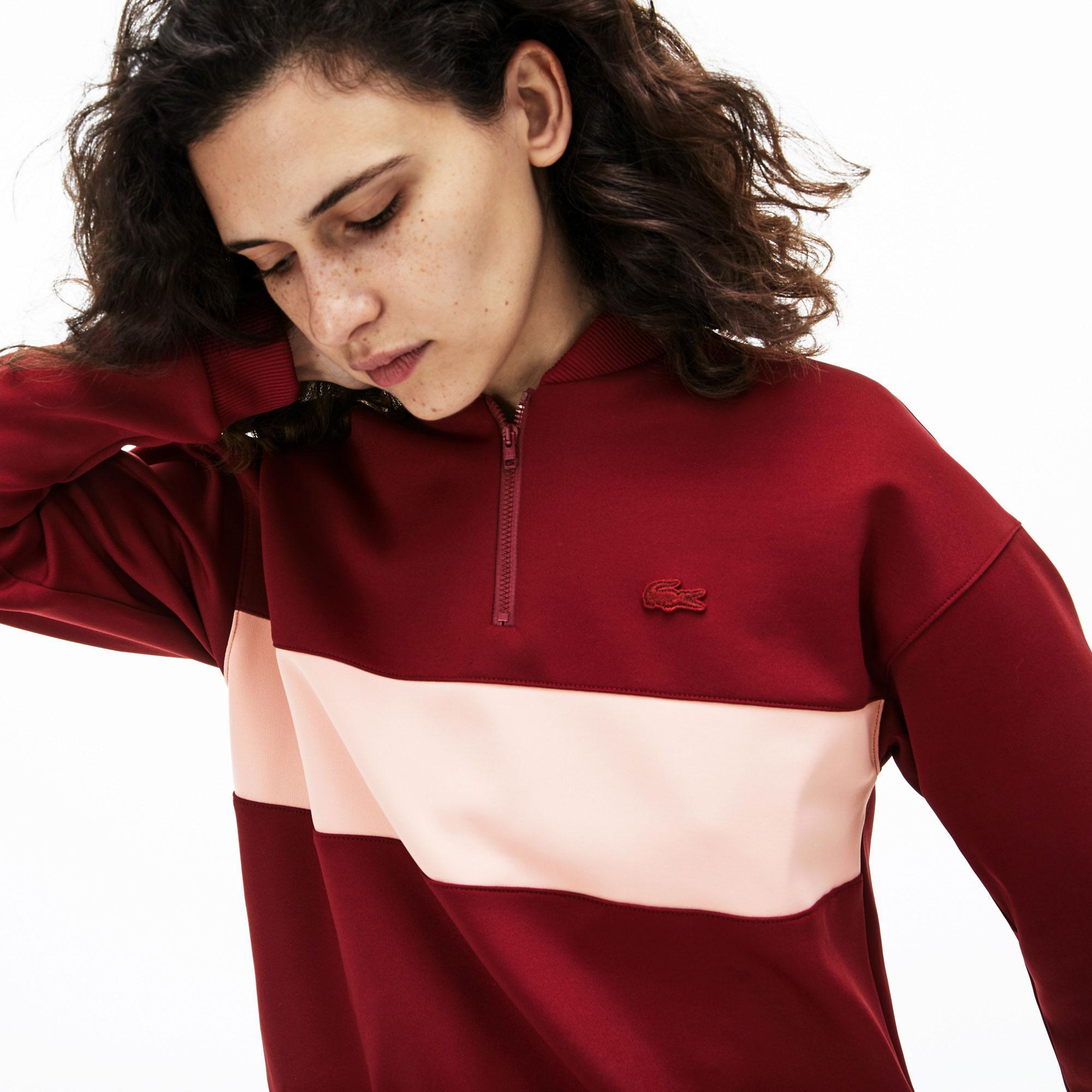 Lacoste Kadın Desenli Bordo Sweatshirt