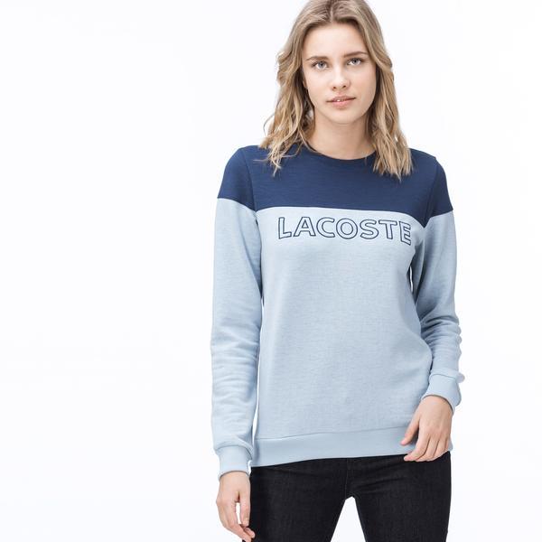 Lacoste Kadın Renk Bloklu Mavi Sweatshirt
