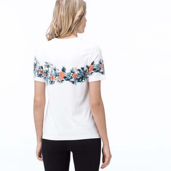 Lacoste Kadın Çiçek Desenli Beyaz T-Shirt