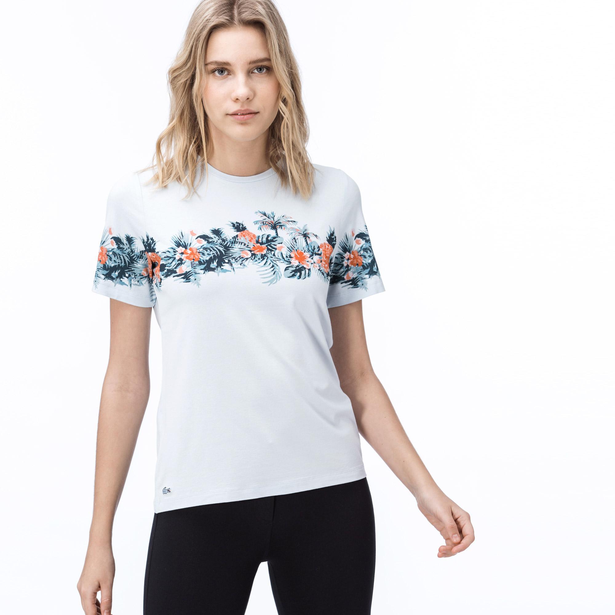 Lacoste Kadın Çiçek Desenli Mavi T-Shirt