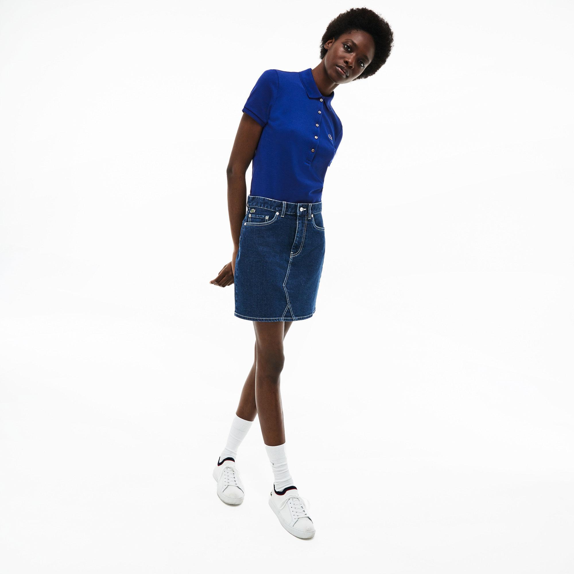 Lacoste Kadın Slim Fit Lacivert Polo