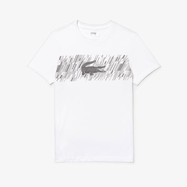 Lacoste Sport Erkek Timsah Baskılı Beyaz T-Shirt