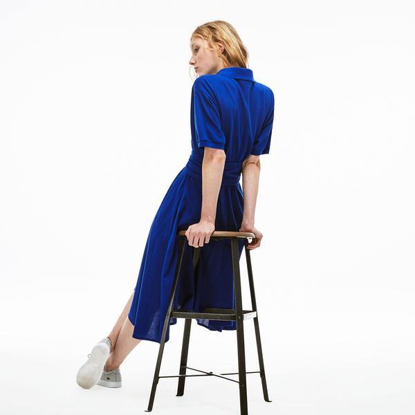 Lacoste Kadın Polo Yaka Lacivert Elbise