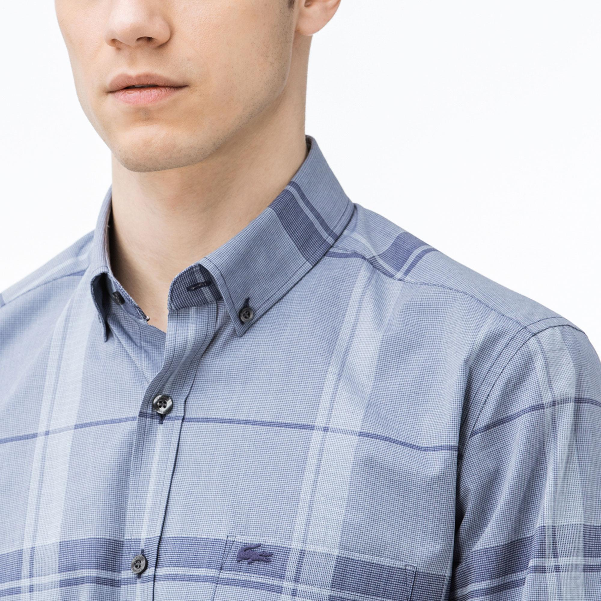 Lacoste Erkek Regular Fit Ekose Lacivert-Gri Gömlek