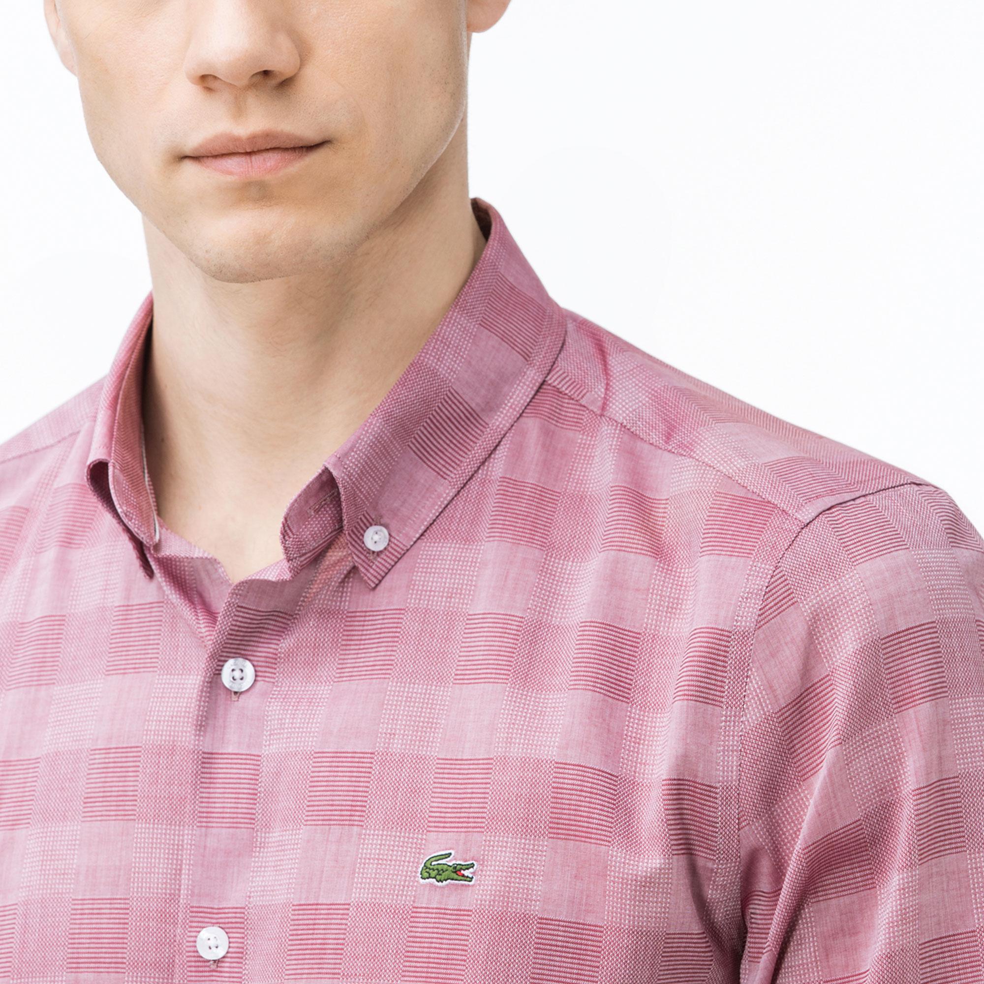 Lacoste Erkek Slim Fit Ekose Bordo Gömlek