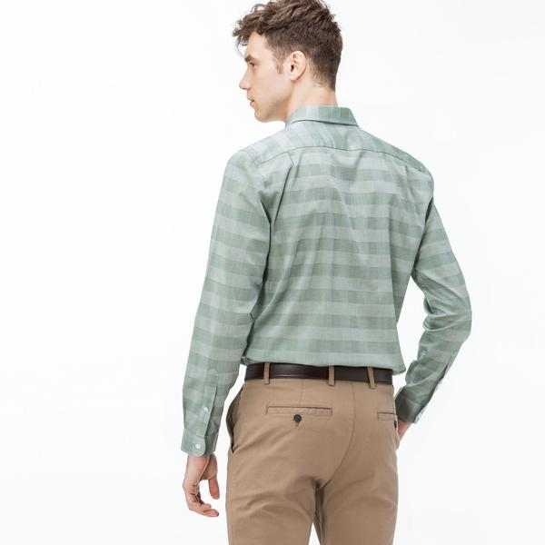 Lacoste Erkek Slim Fit Ekose Yeşil Gömlek