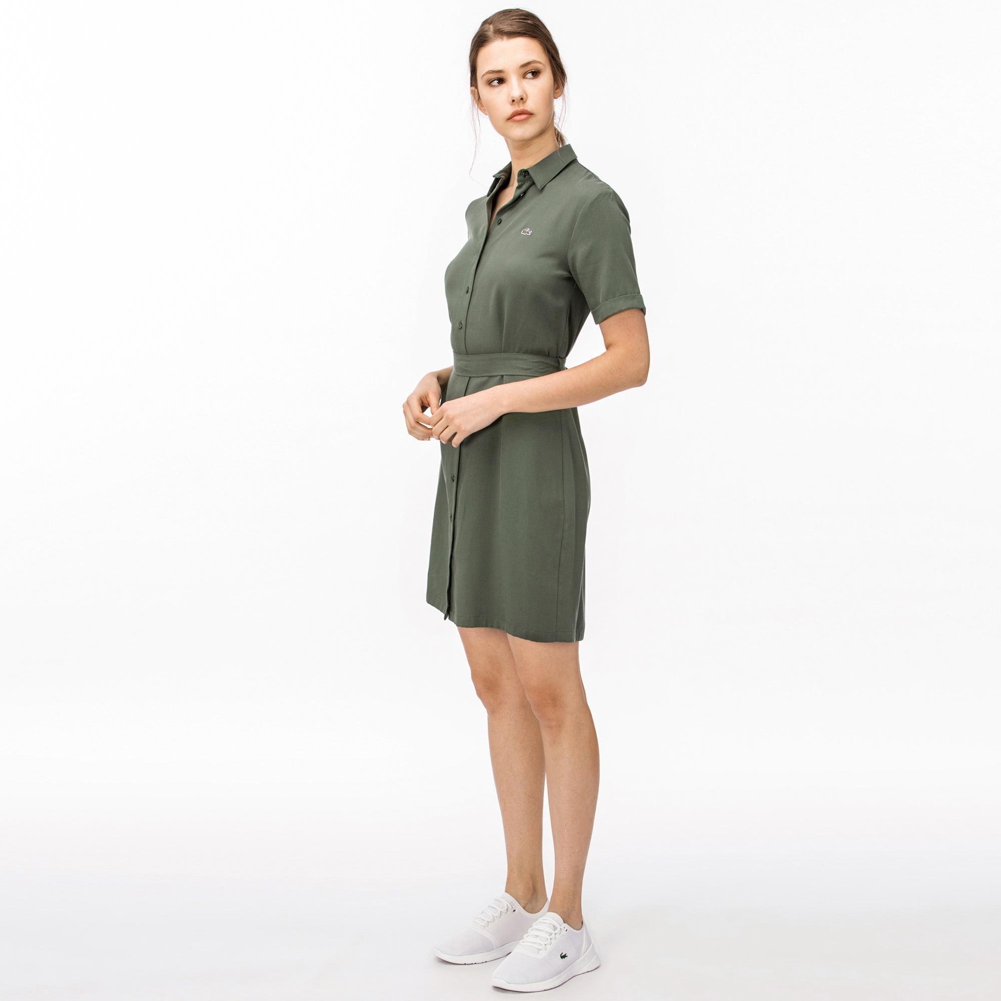 Lacoste Kadın Yeşil Gömlek Elbise