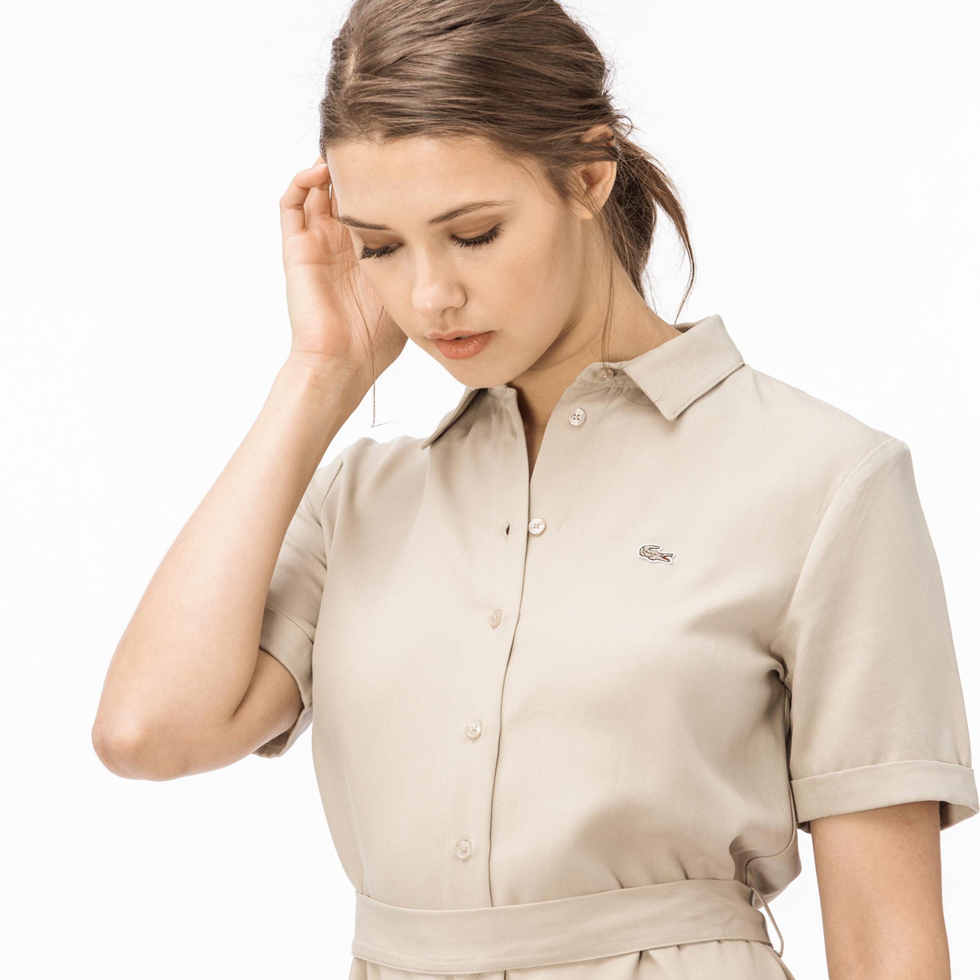 Lacoste Kadın Bej Gömlek Elbise