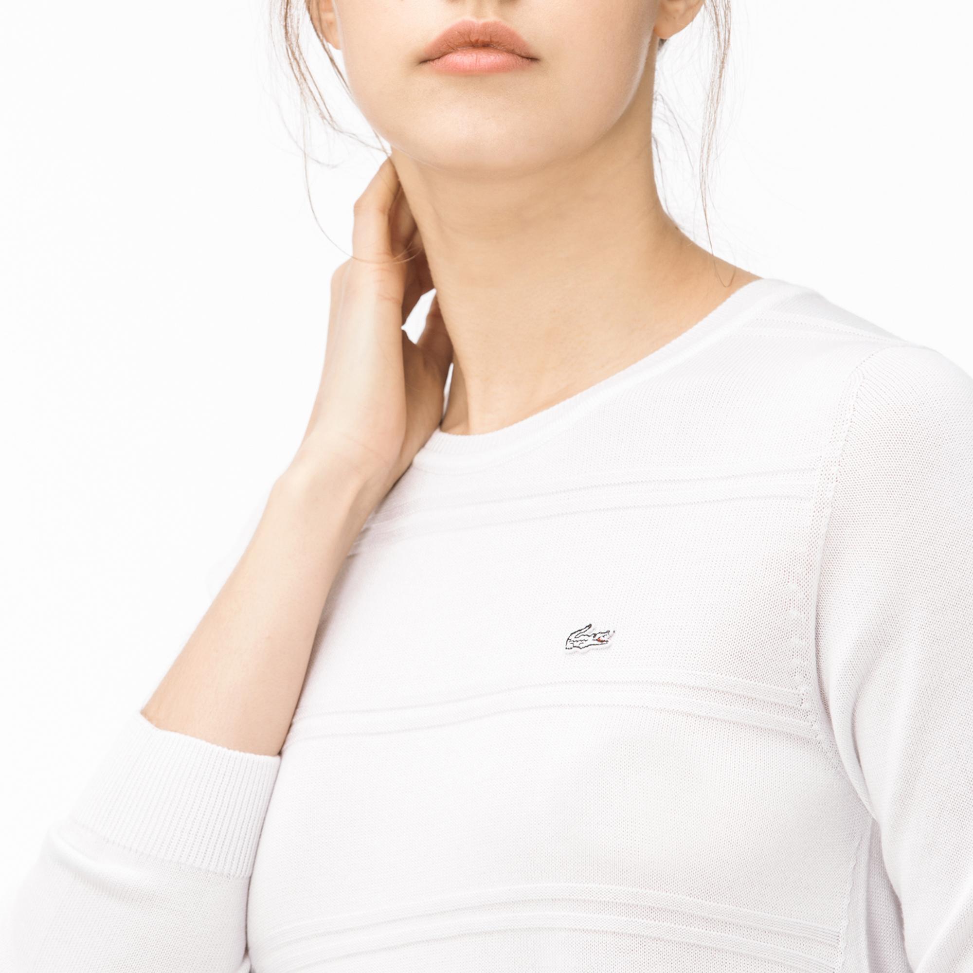 Lacoste Kadın Kayık Yaka Beyaz Triko