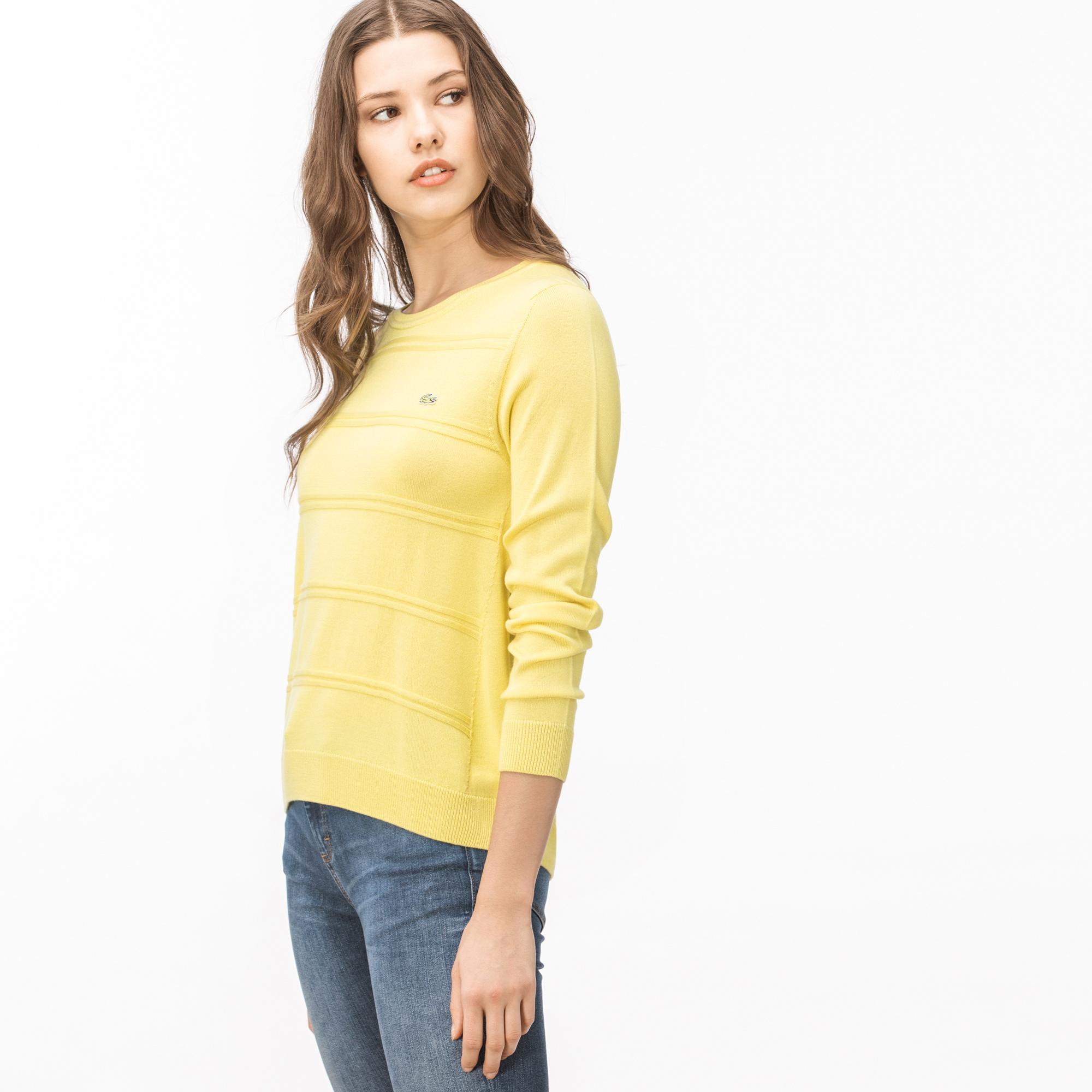 Lacoste Kadın Kayık Yaka Sarı Triko