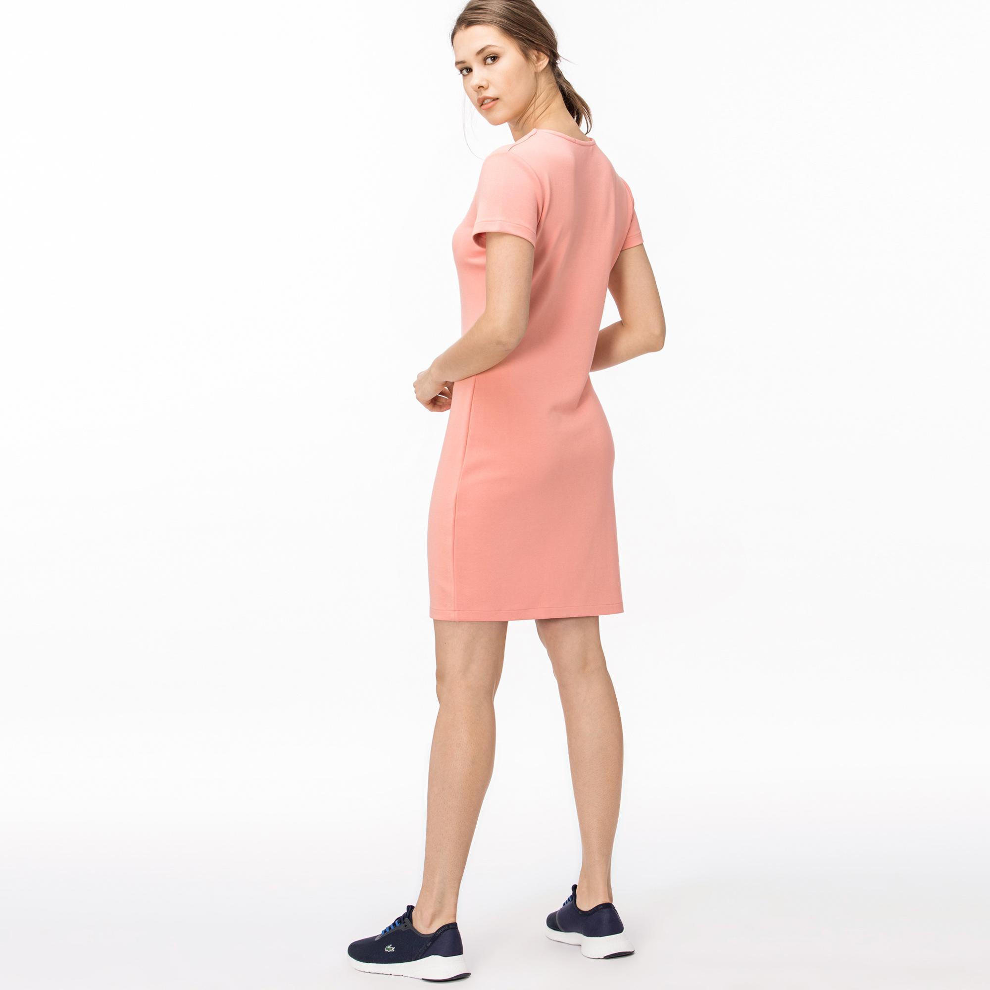 Lacoste Kadın V Yaka Pembe Elbise