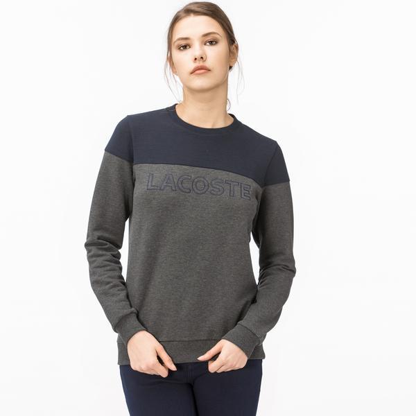 Lacoste Kadın Blok Desenli Lacivert-Gri Sweatshirt