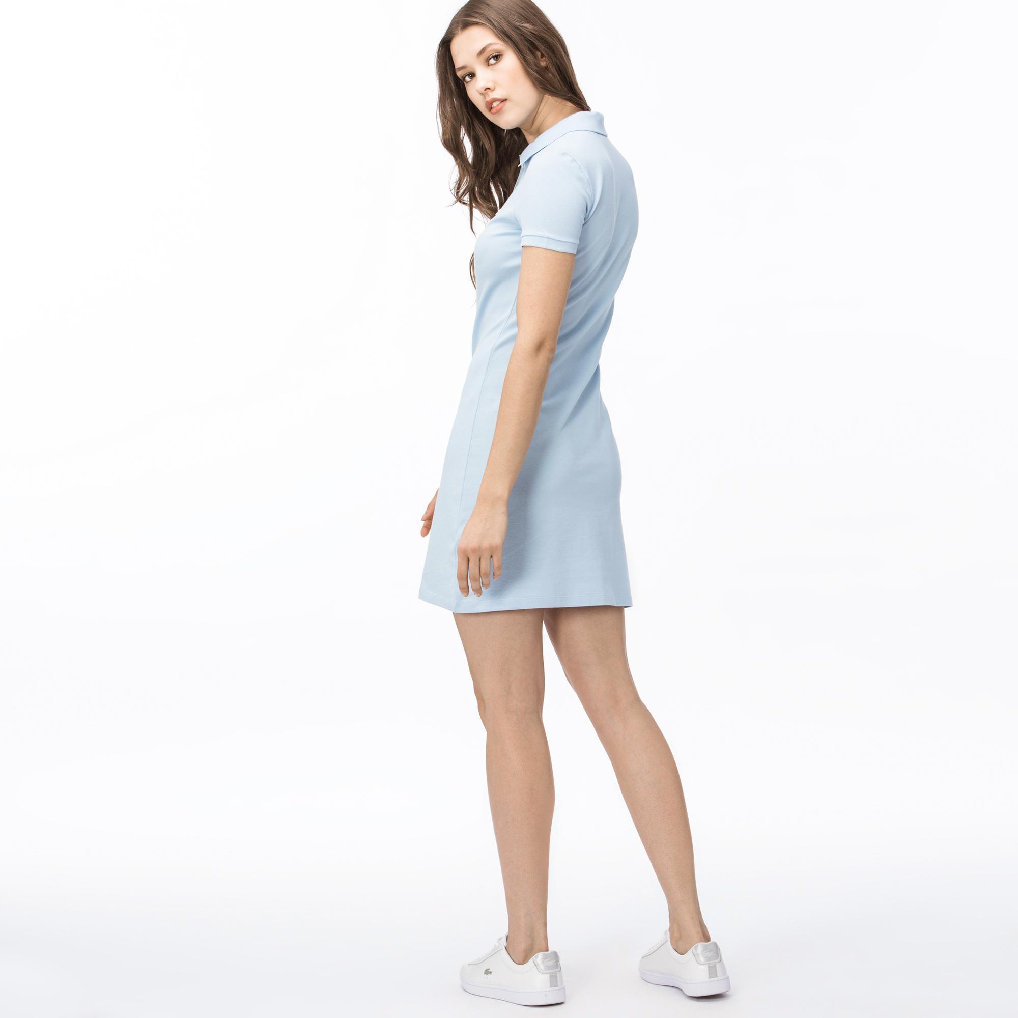 Lacoste Kadın Slim Fit Polo Yaka Açık Mavi Elbise