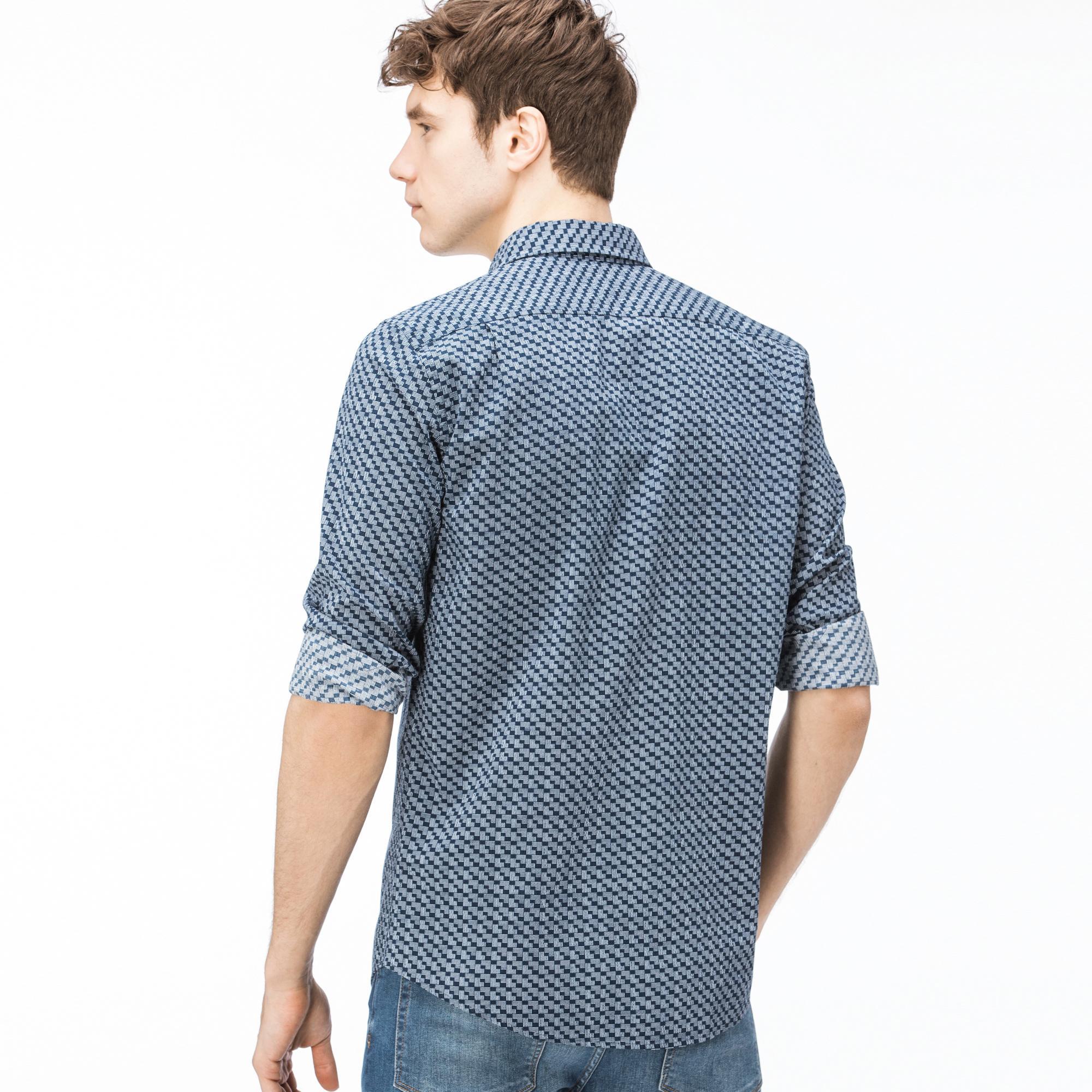 Lacoste Erkek Slim Fit Desenli Mavi Gömlek