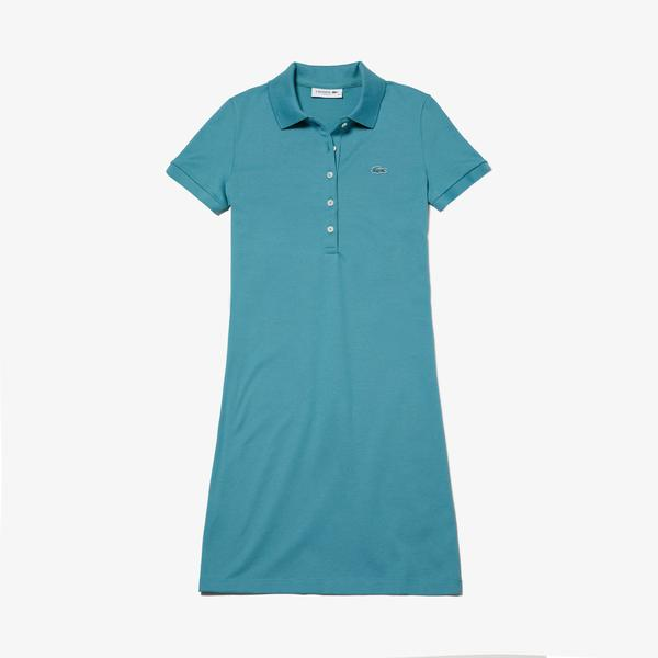 Lacoste Kadın Slim Fit Polo Yaka Mavi Elbise