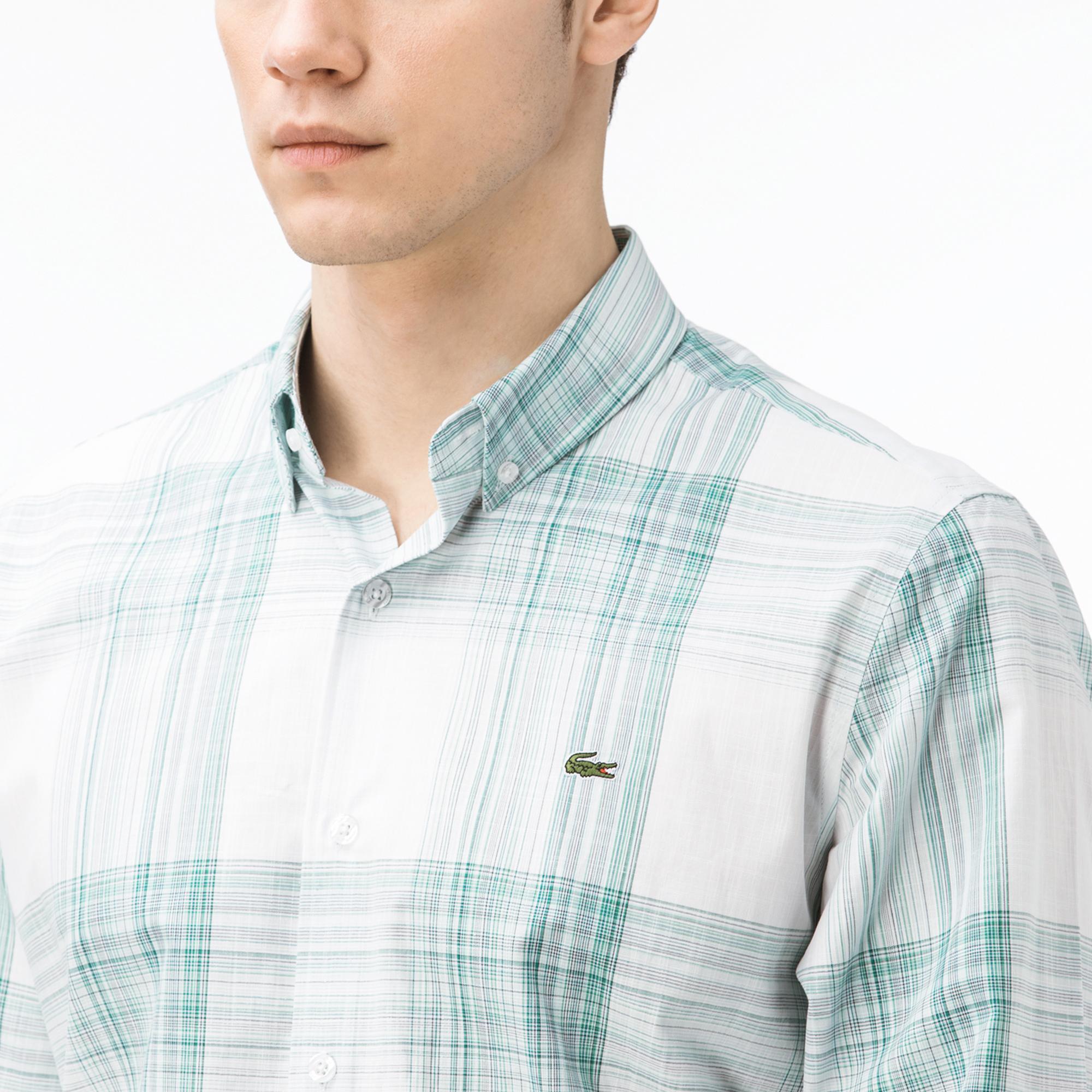 Lacoste Erkek Regular Fit Ekose Yeşil Gömlek