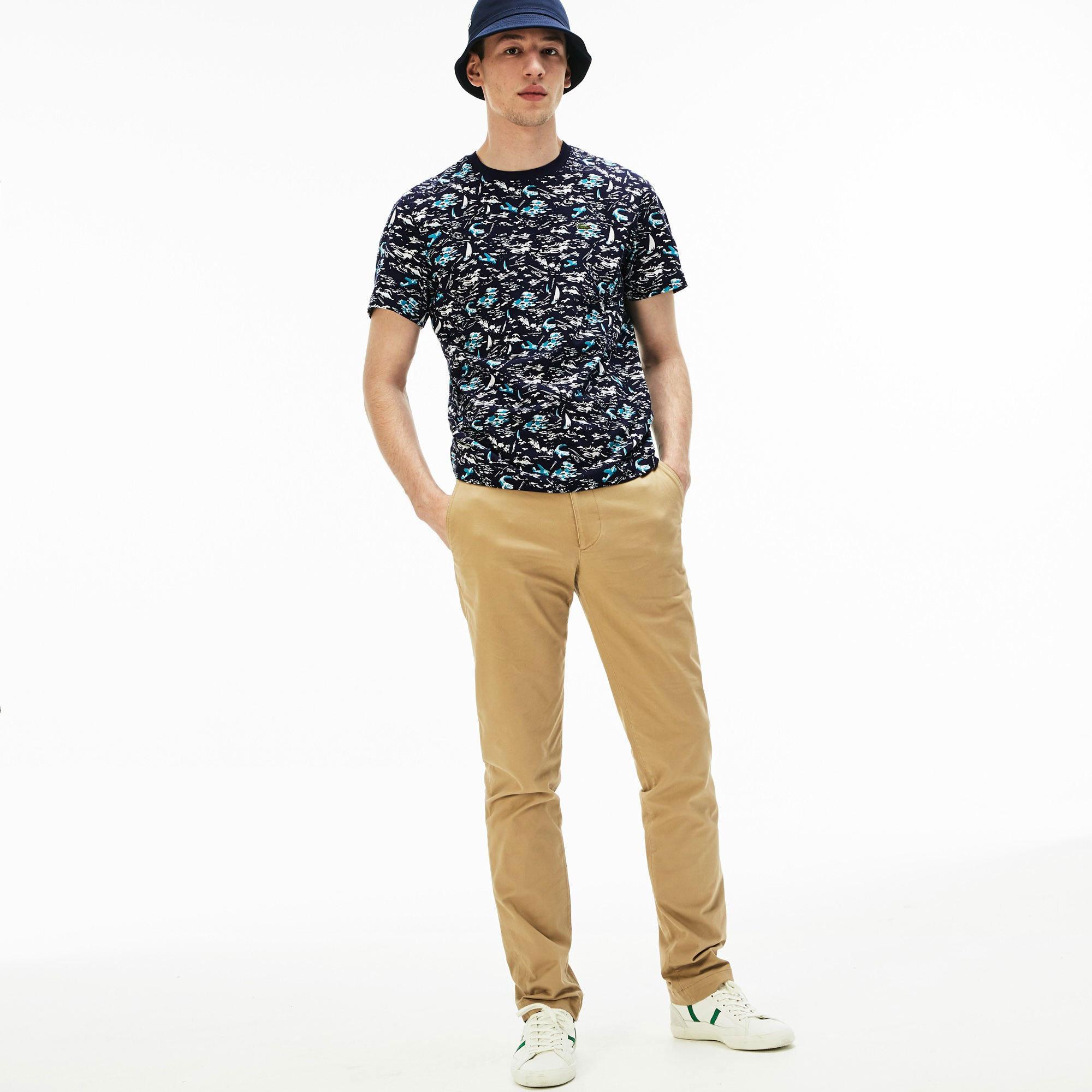 Lacoste Erkek Lacivert Timsah Desenli T-Shirt