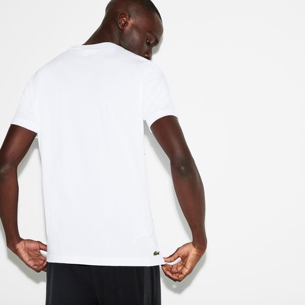 Lacoste Erkek Timsah Desenli Beyaz T-Shirt