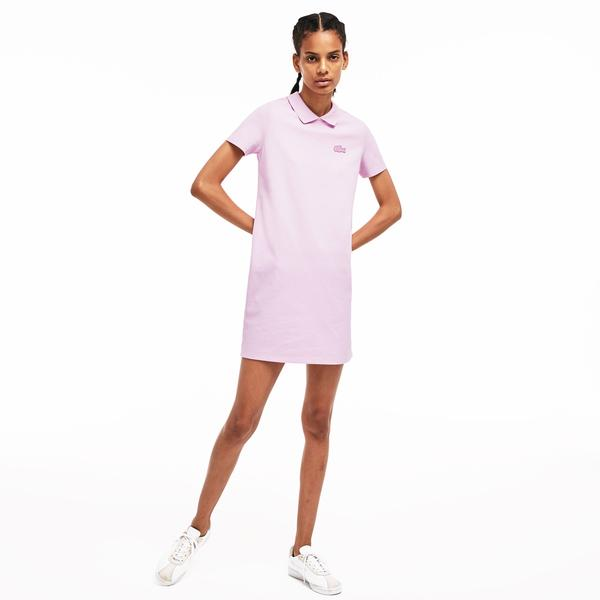 Lacoste L!ve Kadın Slim Fit Pembe Elbise