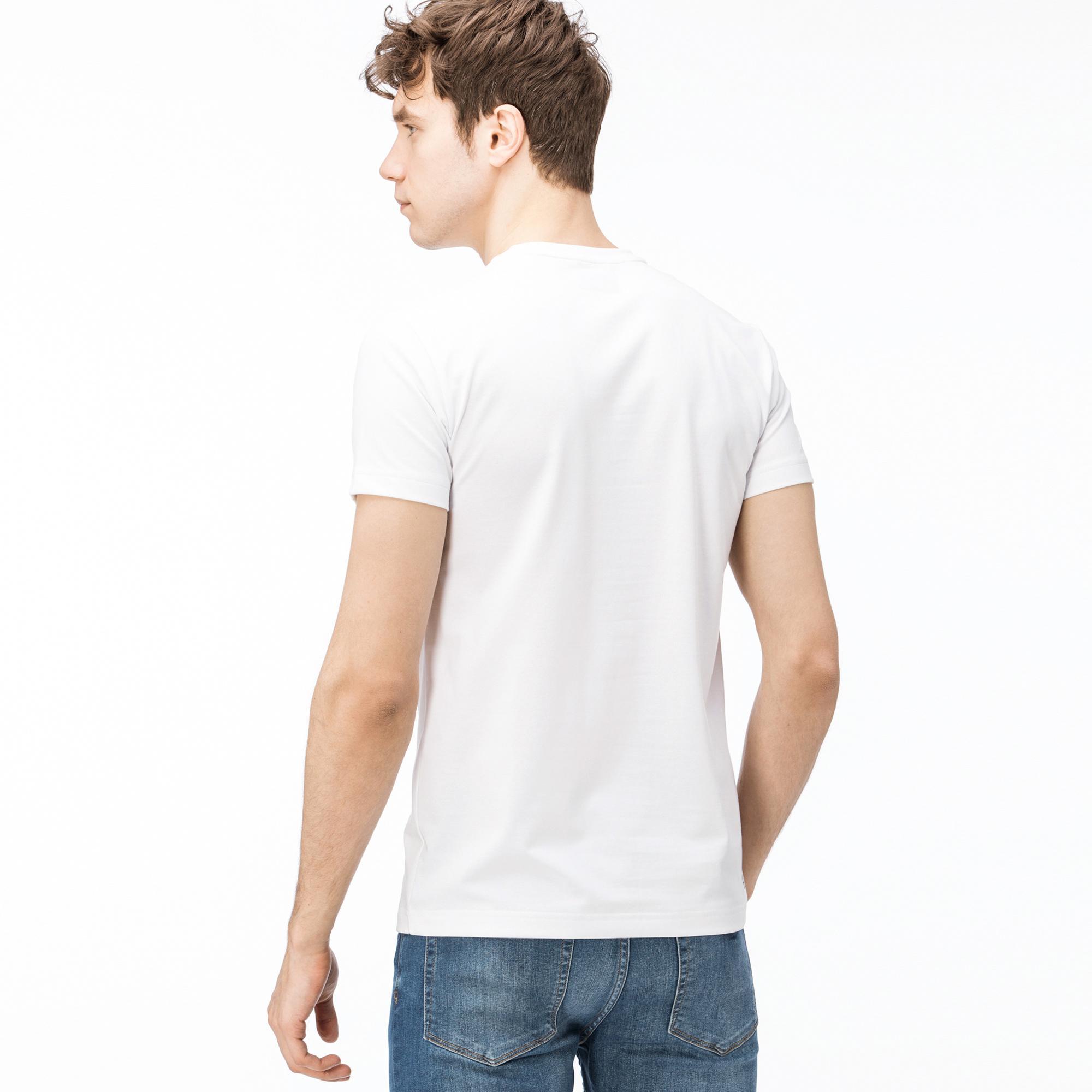 Lacoste Erkek Timsah Baskılı Beyaz T-Shirt