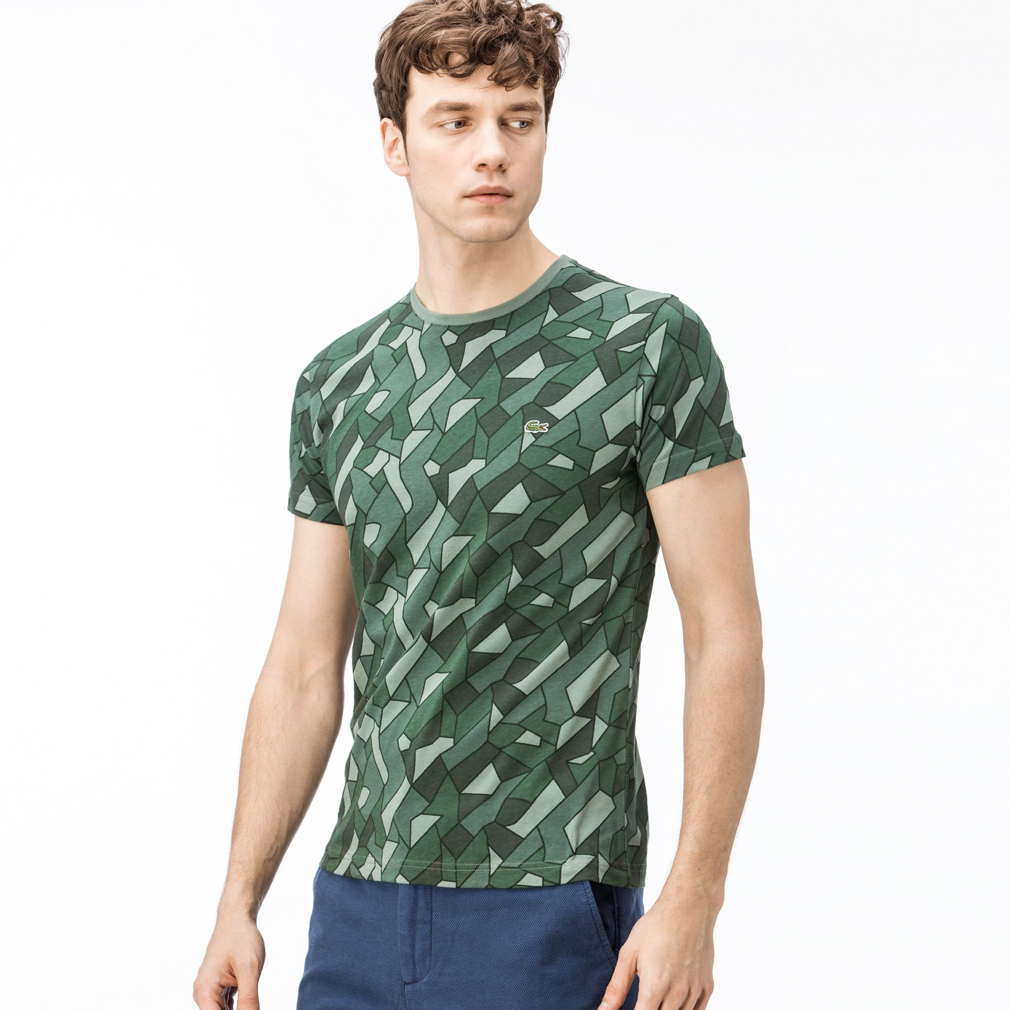 Lacoste Erkek Slim Fit Desenli Yeşil T-Shirt