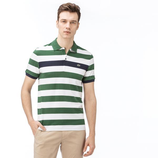 Lacoste Erkek Slim Fit Blok Desenli Yeşil-Beyaz Polo