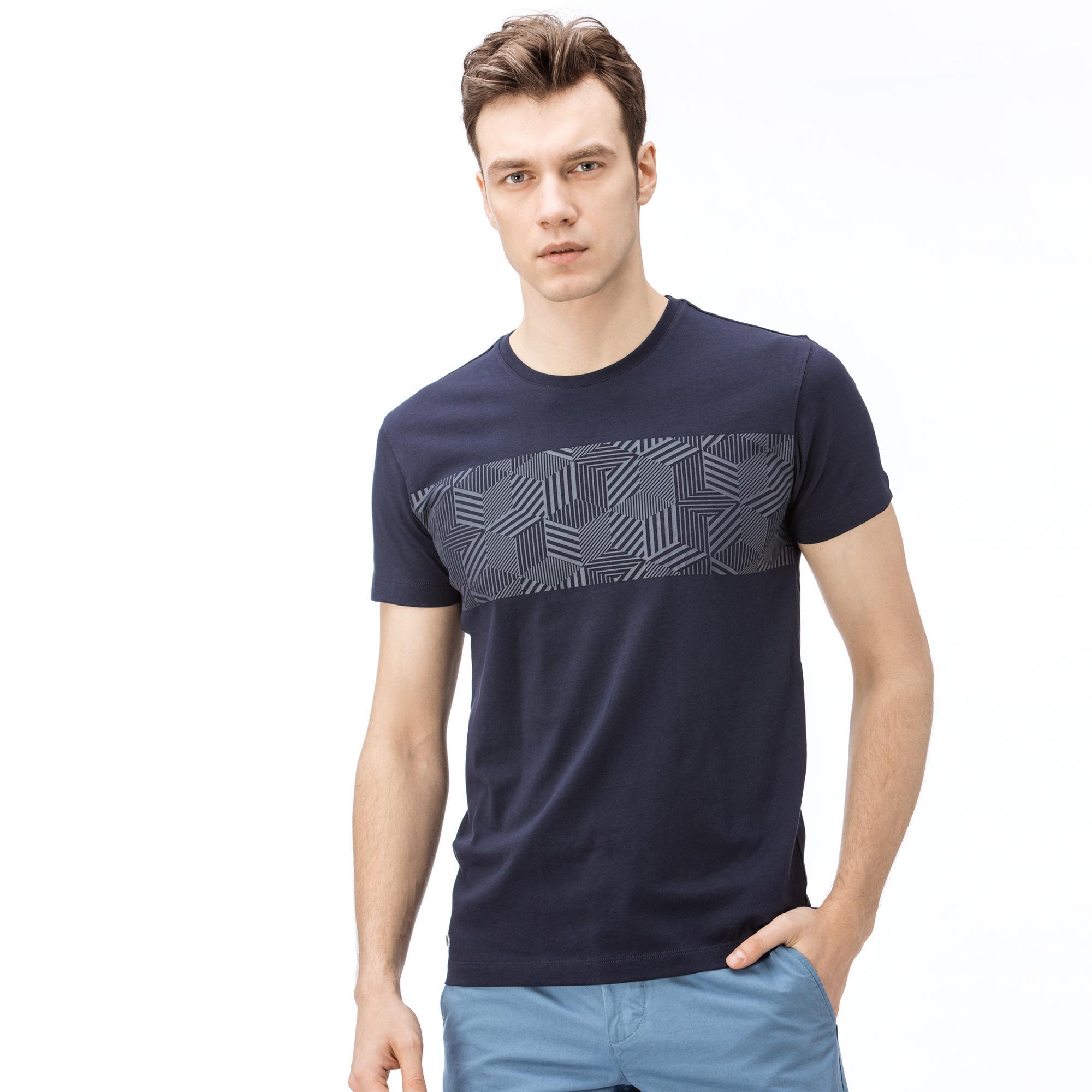 Lacoste Erkek Desenli Lacivert T-Shirt
