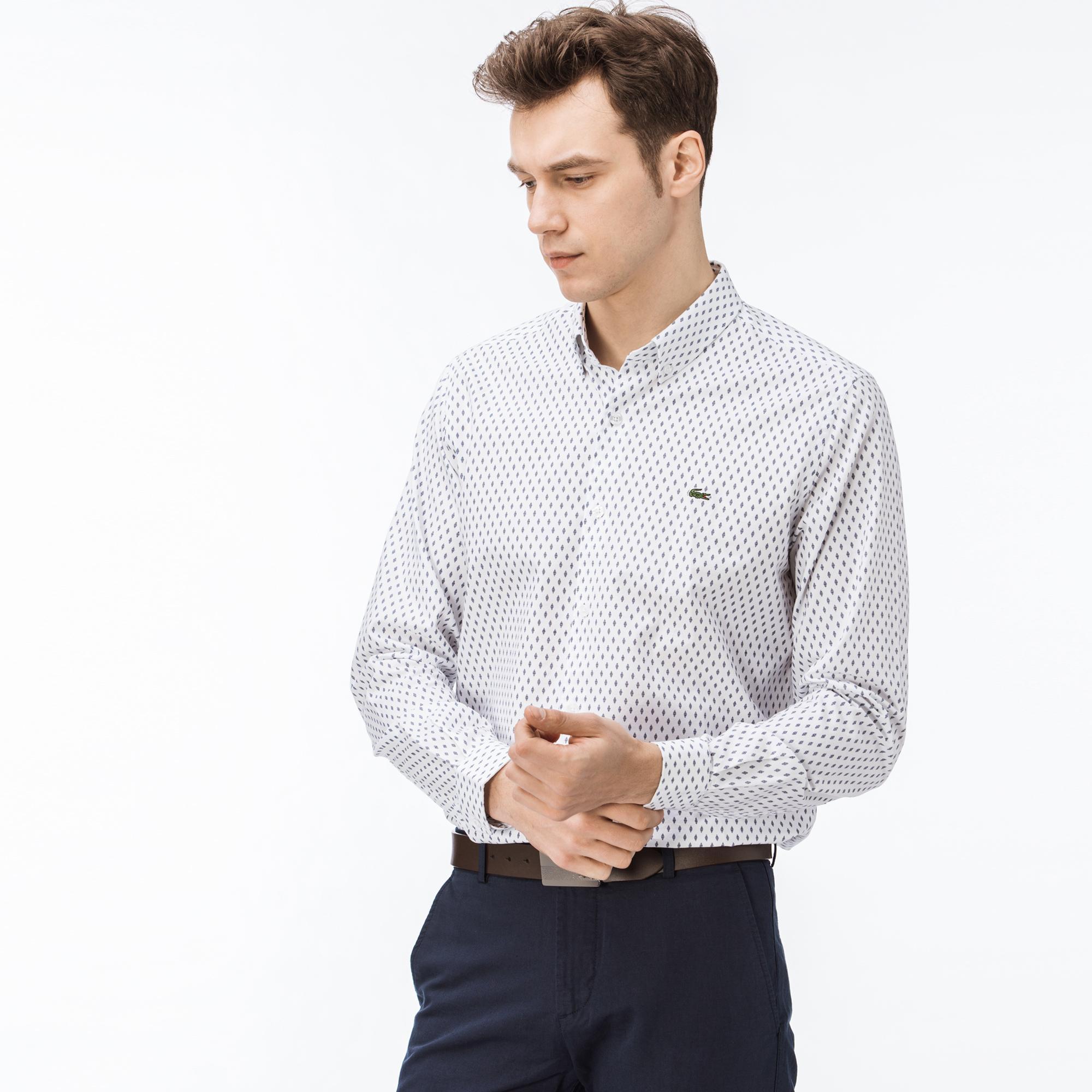 Lacoste Erkek Regular Fit Desenli Beyaz Gömlek