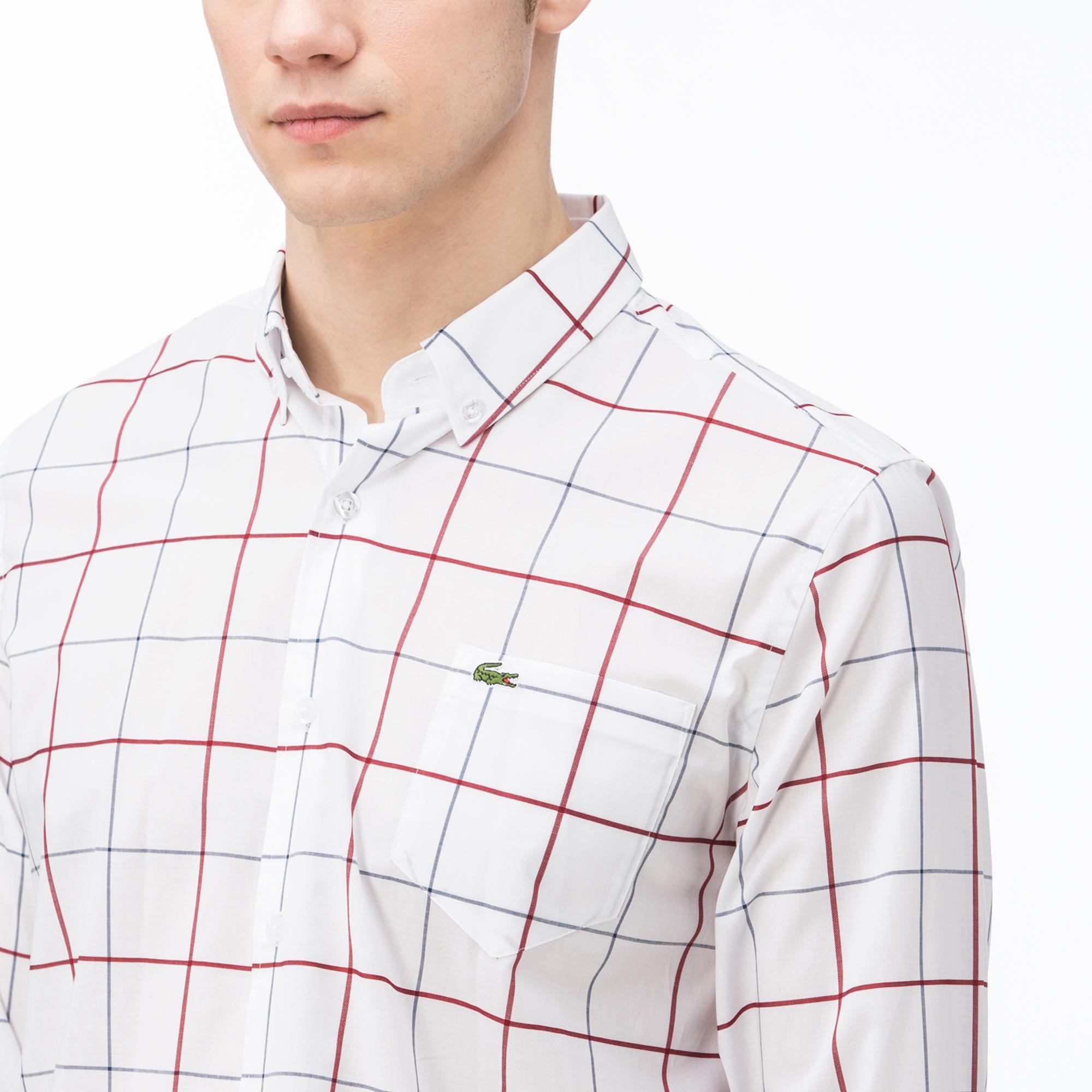 Lacoste Erkek Regular Fit Ekose Kırmızı Gömlek