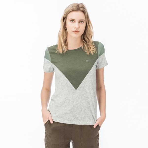 Lacoste Kadın Blok Desenli Haki T-Shirt