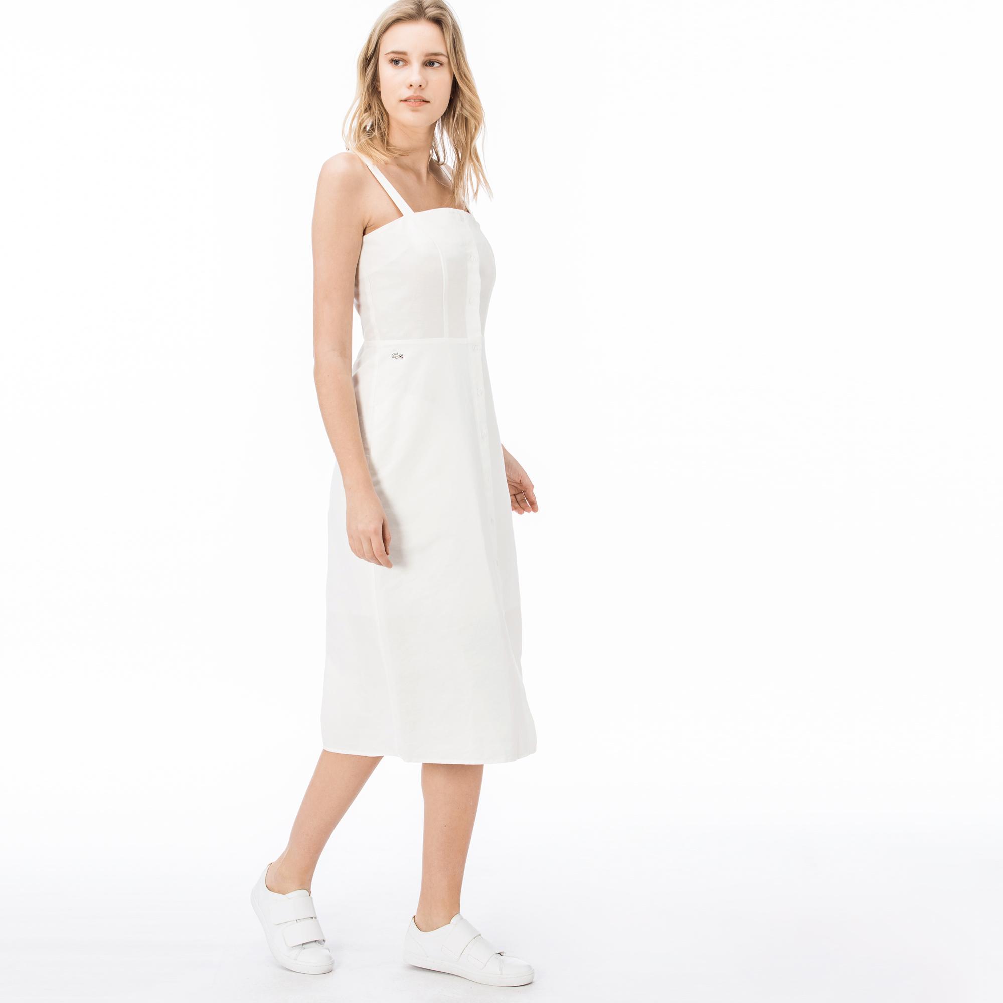 Lacoste Kadın Askılı Beyaz Elbise