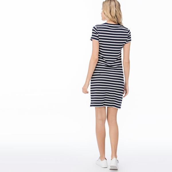 Lacoste Kadın Mavi - Beyaz Elbise