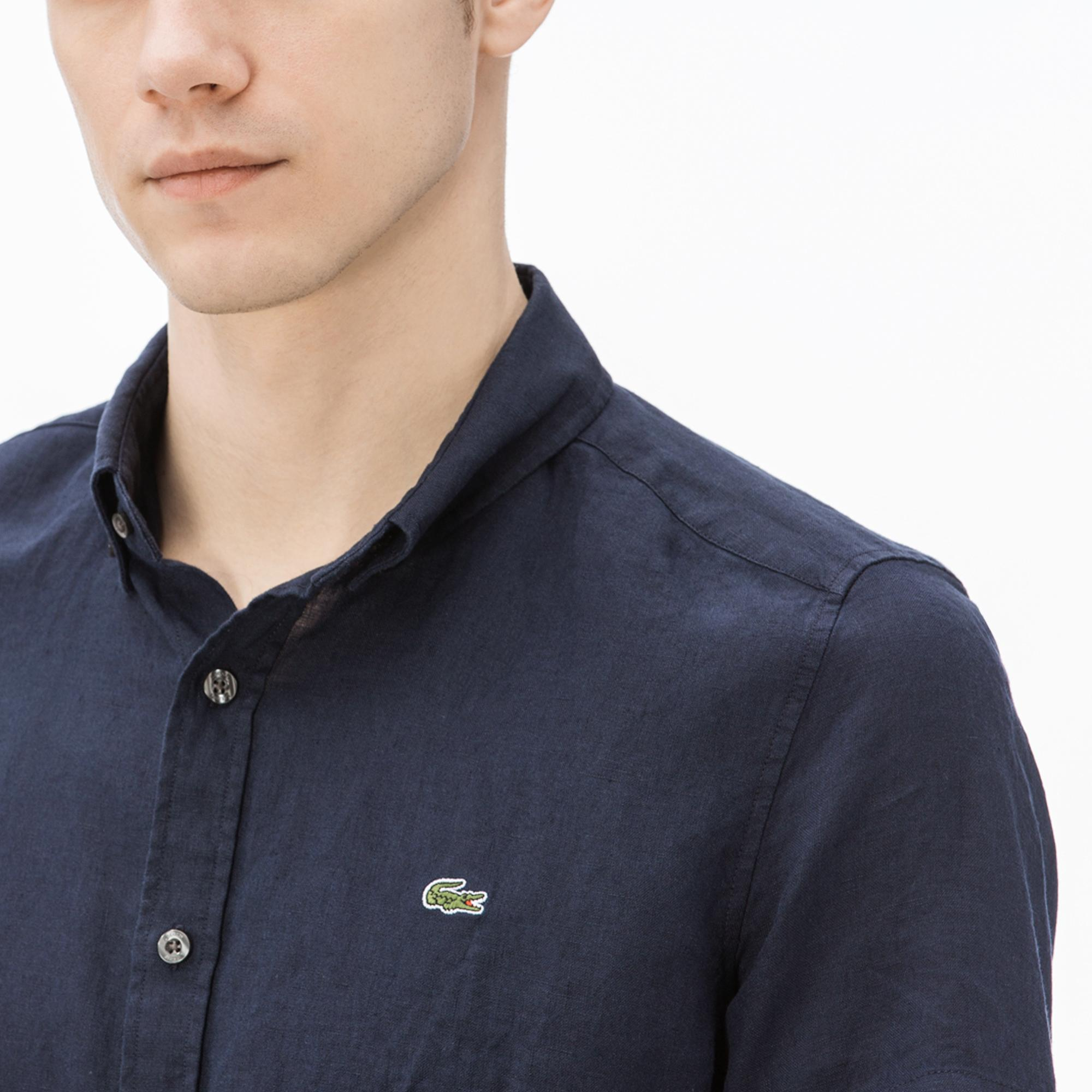 Lacoste Erkek Slim Fit Lacivert Kısa Kollu Gömlek