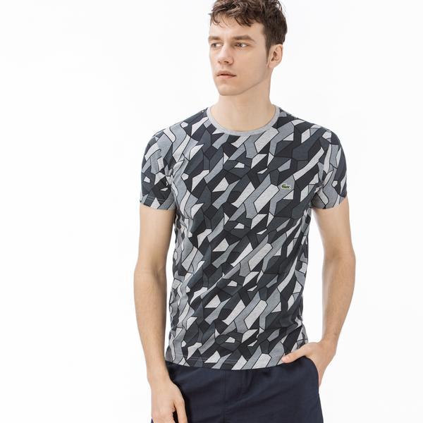 Lacoste Erkek Slim Fit Desenli Siyah T-Shirt