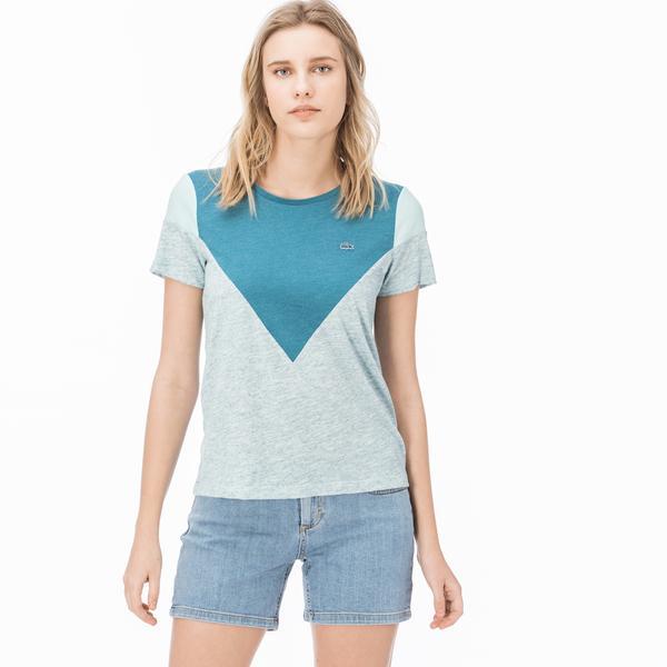 Lacoste Kadın Blok Desenli Yeşil T-Shirt