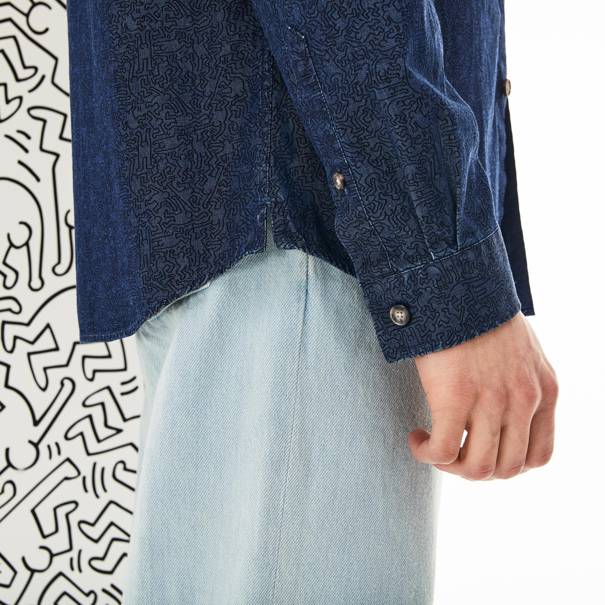 Lacoste X Keith Haring Erkek Slim Fit Lacivert Gömlek