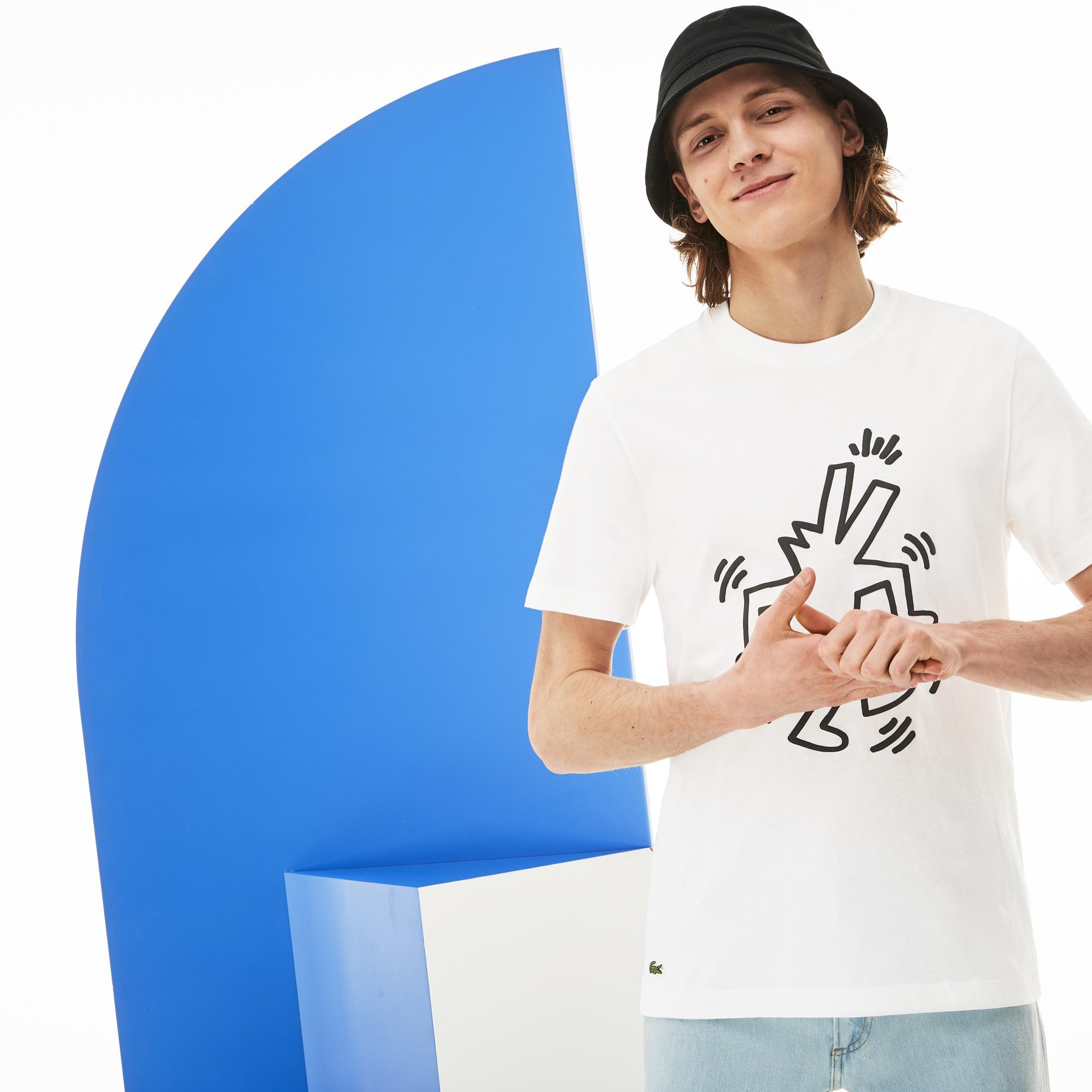 Lacoste X Keith Haring Erkek Regular Fit Beyaz T-Shirt