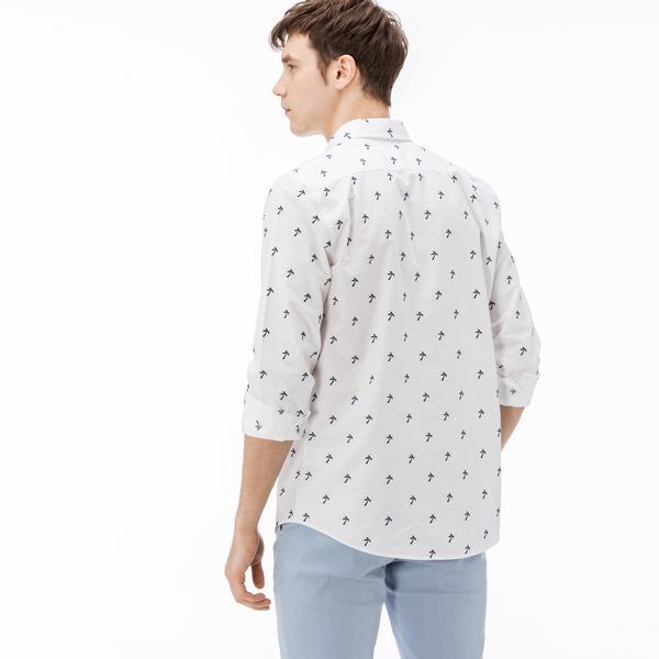 Lacoste Erkek Slim Fit Desenli Lacivert-Beyaz Gömlek
