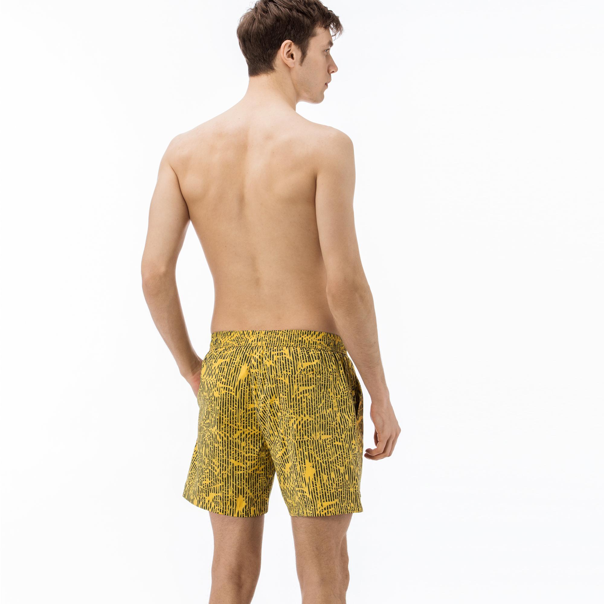 Lacoste Erkek Desenli Sarı Şort Mayo