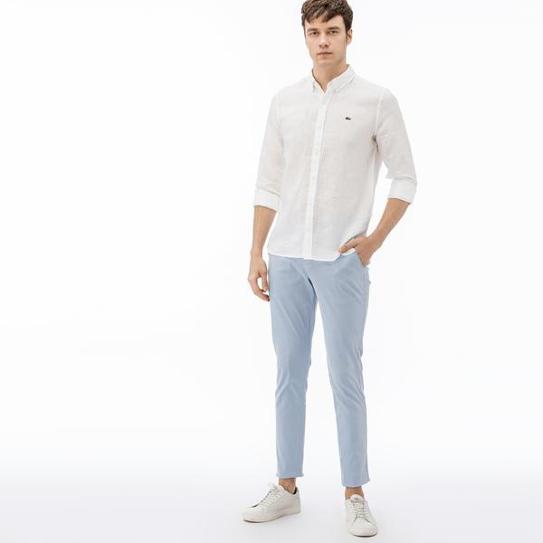 Lacoste Erkek Slim Fit Çizgili Mavi Pantolon