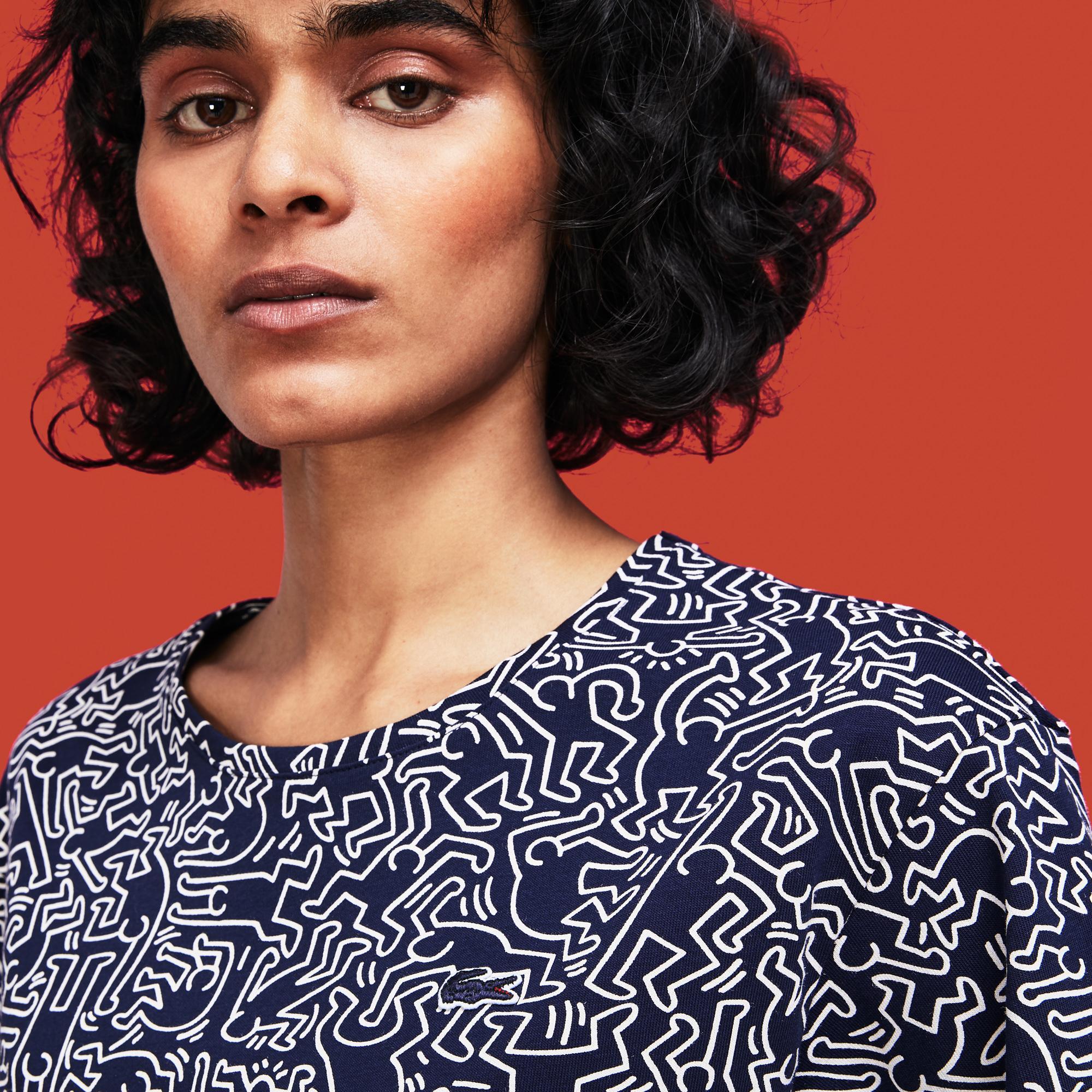 Lacoste X Keith Haring Kadın Lacivert T-Shirt