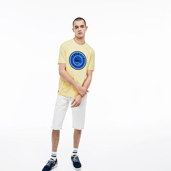 Lacoste L!ve Erkek Sarı Bisiklet Yaka T-Shirt