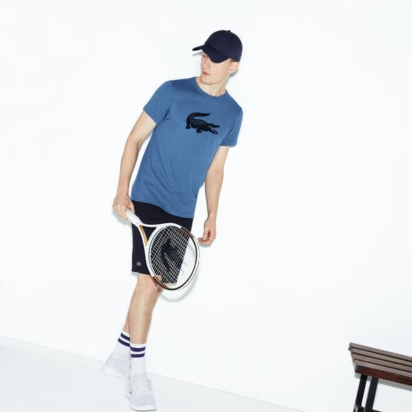 Lacoste Erkek Timsah Baskılı Mavi T-Shirt