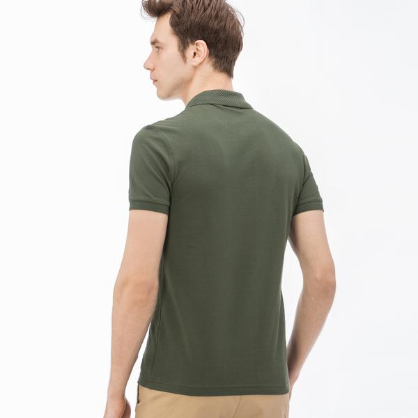 Lacoste Erkek Slim Fit Fermuarlı Yeşil Polo