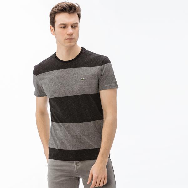 Lacoste Erkek Regular Fit Siyah - Gri Renk Bloklu T-Shirt